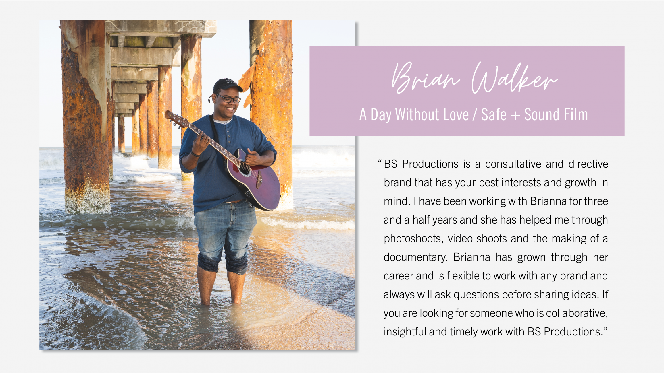 Testimonial graphic from Brian Walker A Day Without Love