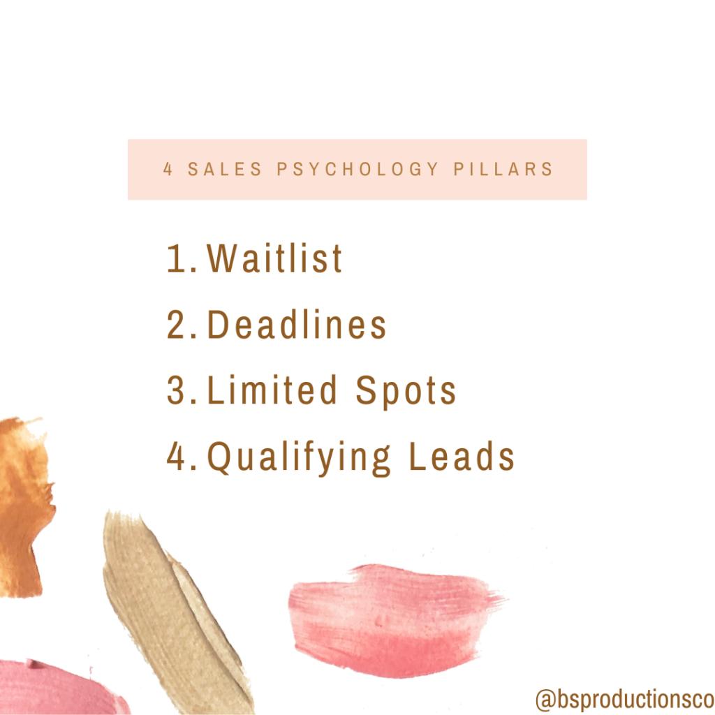 4 Sales Psychology Pillars 1. Waitlist 2. Deadlines 3. Limited Spots 4. Qualifying Leads